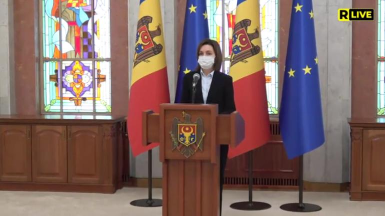 Președinta Maia Sandu face declarații de presă după ultimele consultări cu fracțiunile și grupurile parlamentare