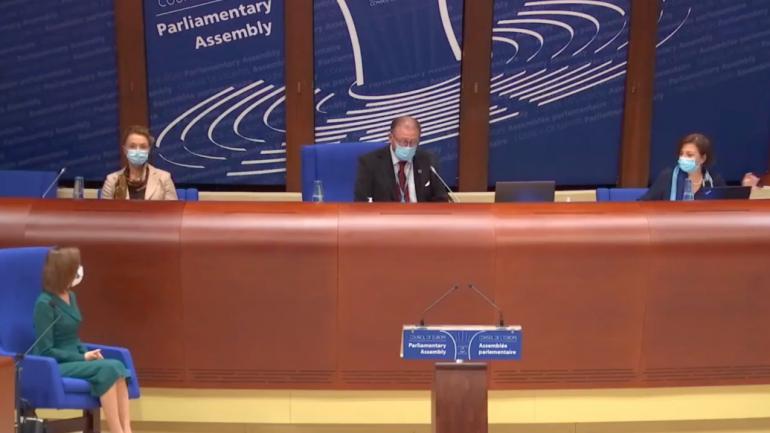 Președintele Republicii Moldova, Maia Sandu, susține un discurs în plenul Adunării Parlamentare a Consiliului Europei, la invitația președintelui forului Hendrik Daems