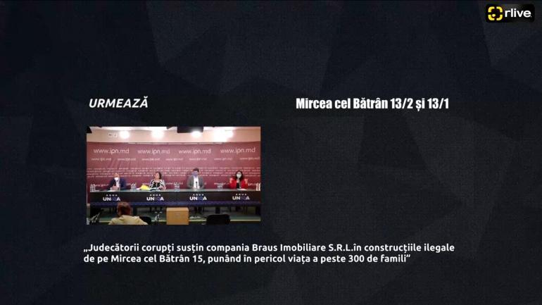 """Agenda - Conferința de presă """"Judecătorii corupți susțin compania Braus Imobiliare S.R.L. în construcțiile ilegale de pe Mircea cel Bătrân 15, punând în pericol viața a peste 300 de familii"""""""