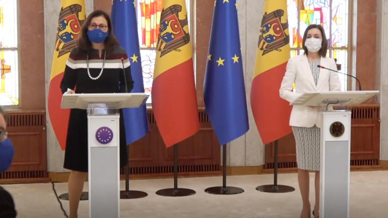 Declarații de presă susținute de președintele Maia Sandu și membrii delegației Comisiei Europene