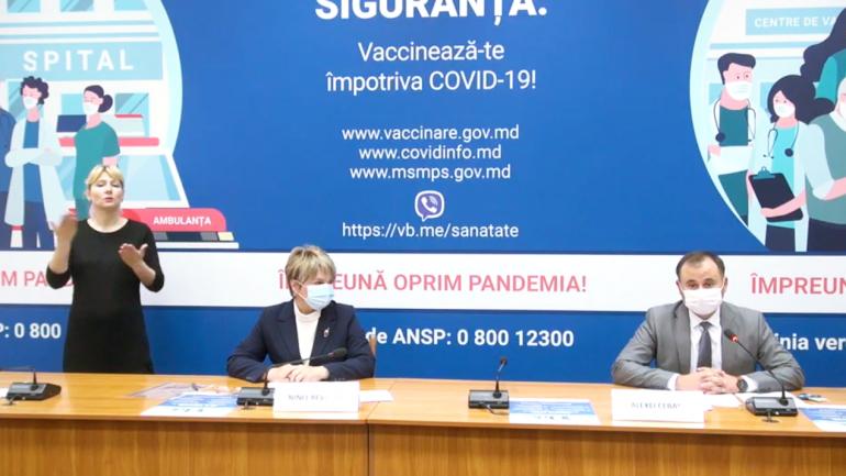 Conferința de presă privind procesul de vaccinare împotriva COVID-19, în Republica Moldova