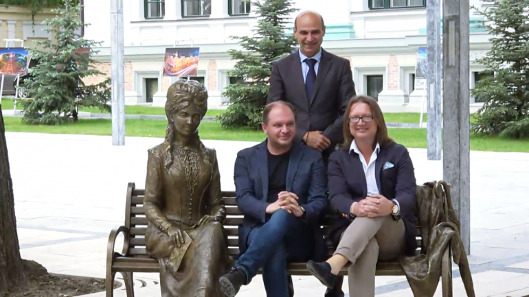 "Inaugurarea sculpturii urbane a Veronicăi Micle din Scuarul ""Mihai Eminescu"""
