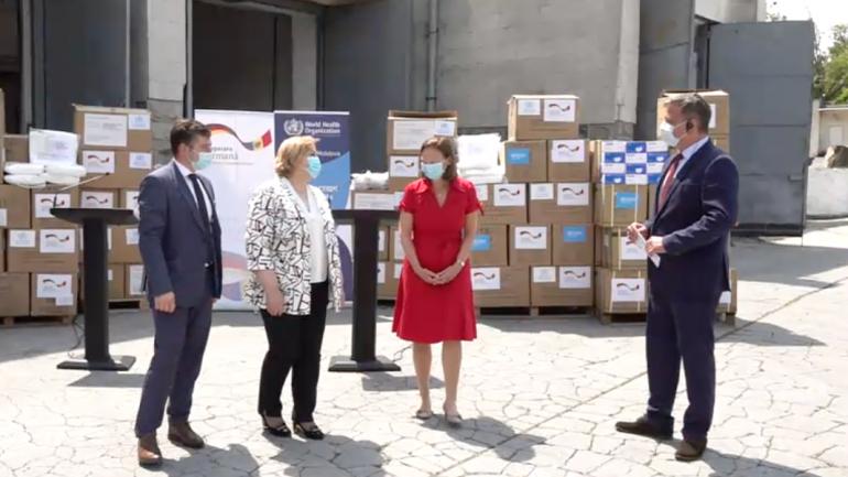 OMS și Ambasada Germaniei donează un lot de echipamente de protecție (ochelari de protecție, halate medicale și măști chirurgicale)