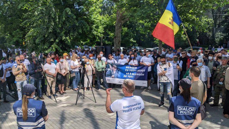Protest la Curtea de Apel Chișinău, unde este examinat dosarul privind numărul secţiilor de vot în diasporă