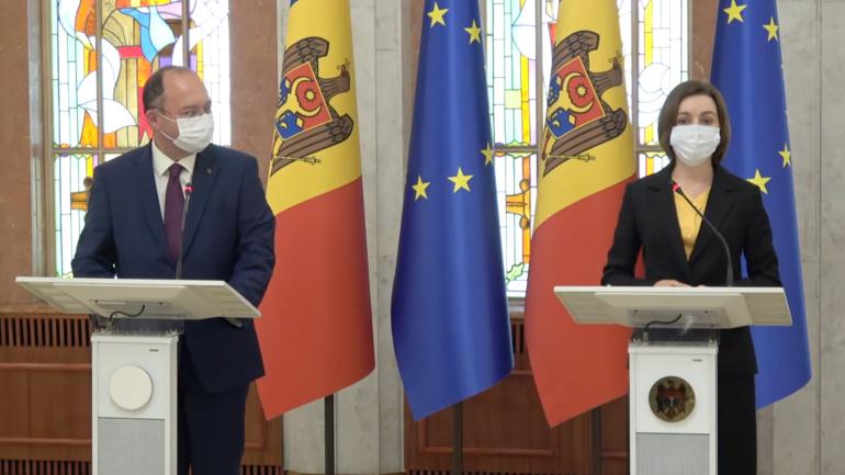 Agenda - Președintele R. Moldova, Maia Sandu și ministrul Afacerilor Externe al României, Bogdan Aurescu susțin declarații de presă