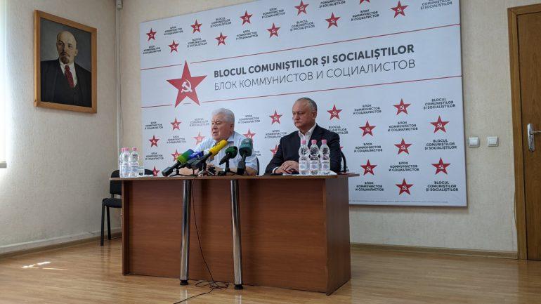 Declarații de presă susținute de liderii Blocului Comuniștilor și Socialiștilor, Vladimir Voronin și Igor Dodon