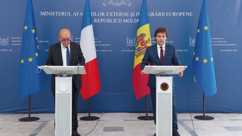 Declarații de presă susținute de ministrul afacerilor externe și integrării europene al R. Moldova, Nicu Popescu și ministrul pentru Europa și afaceri externe al Franței, Jean Yves Le Drian