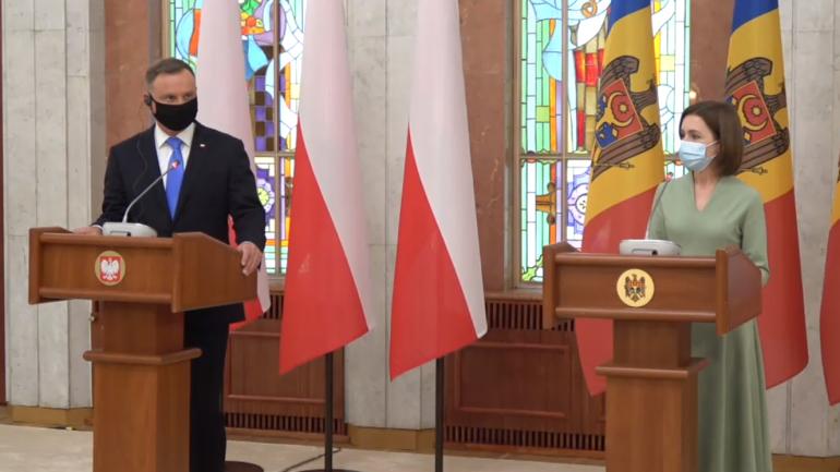 Declarații de presă comune ale Președintelui Republicii Moldova, Maia Sandu, și Președintelui Republicii Polone, Andrzej Duda