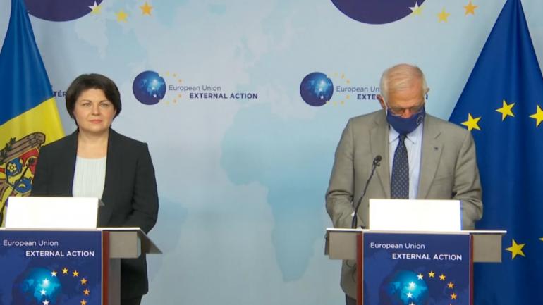 Declarații de presă după întrevederea premierului Natalia Gavrilița cu Înaltul Reprezentant al Uniunii Europene pentru Afaceri Externe şi Politica de Securitate, Josep Borrell Fontelles