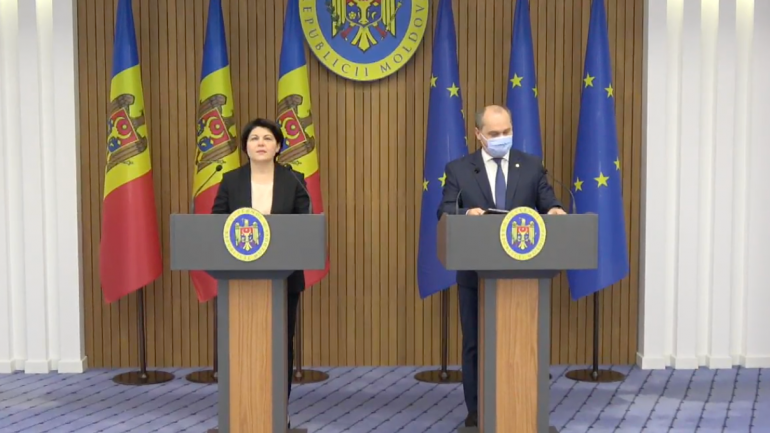 Conferință de presă susținută de prim-ministrul Natalia Gavrilița și viceprim-ministrul pentru Digitalizare, Iurie Țurcanu