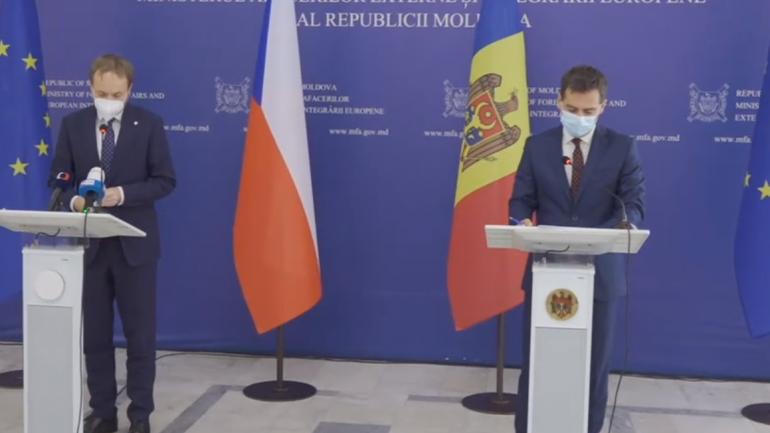 Declarații de presă susținute de ministrul Afacerilor Externe și Integrării Europene al Republicii Moldova, Nicu Popescu și ministrul Afacerilor Externe al Cehiei, Jakub Kulhánek