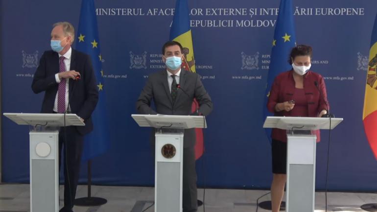 Conferință de presă susținută de ministrul de externe Nicu Popescu și reprezentanții Comisiei Europene și serviciului european de acțiune externă