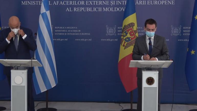 Declarații de presă susținute de ministrul Afacerilor Externe și Integrării Europene al Republicii Moldova, Nicu Popescu Și ministrul Afacerilor Externe al Greciei, Nikos Dendias