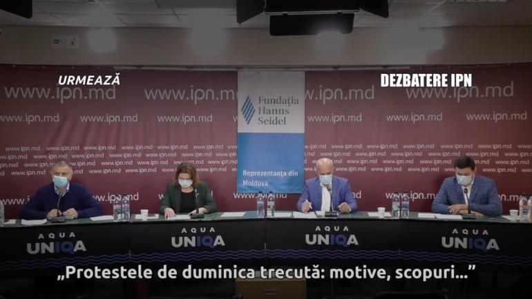 """Dezbateri publice organizate de Agenția de presă IPN cu genericul """"Protestele de duminica trecută: motive, scopuri, baza socială, eventuale evoluții, beneficii și riscuri"""""""